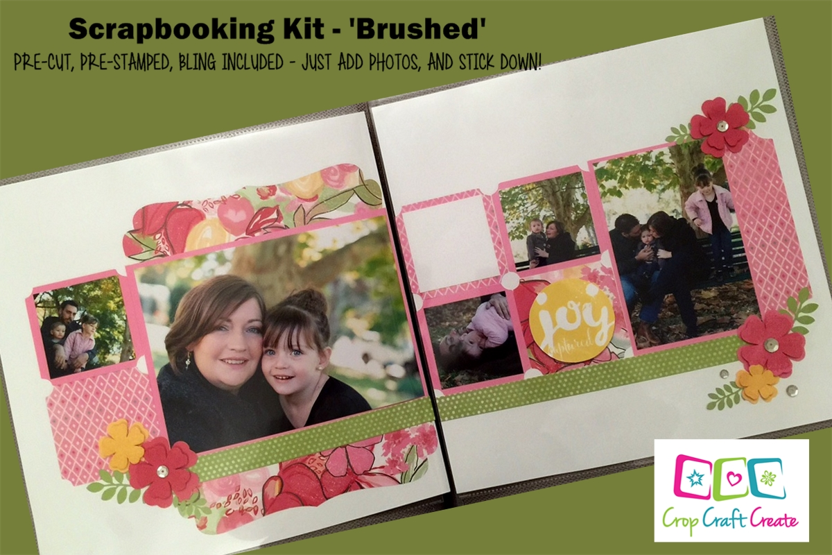 2 pages, designed, cut, stamped - just add photos.