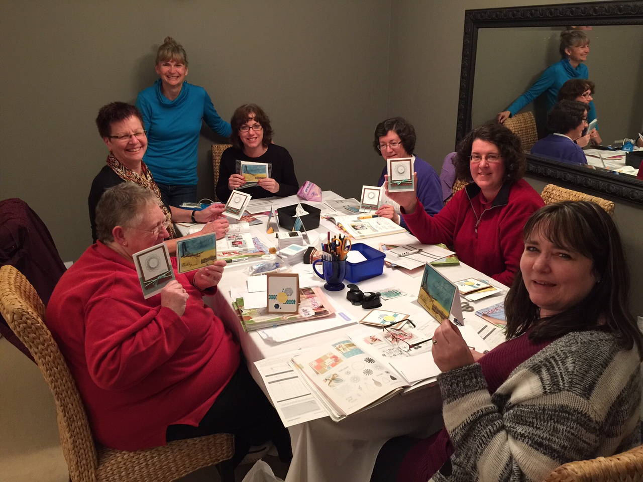Everyone happy with the results of their card class, new techniques learned, beautiful cards created.