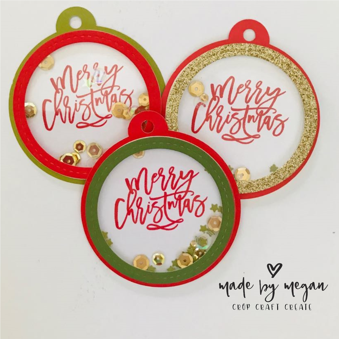 Christmas tree decorations created using shaker 'cards'