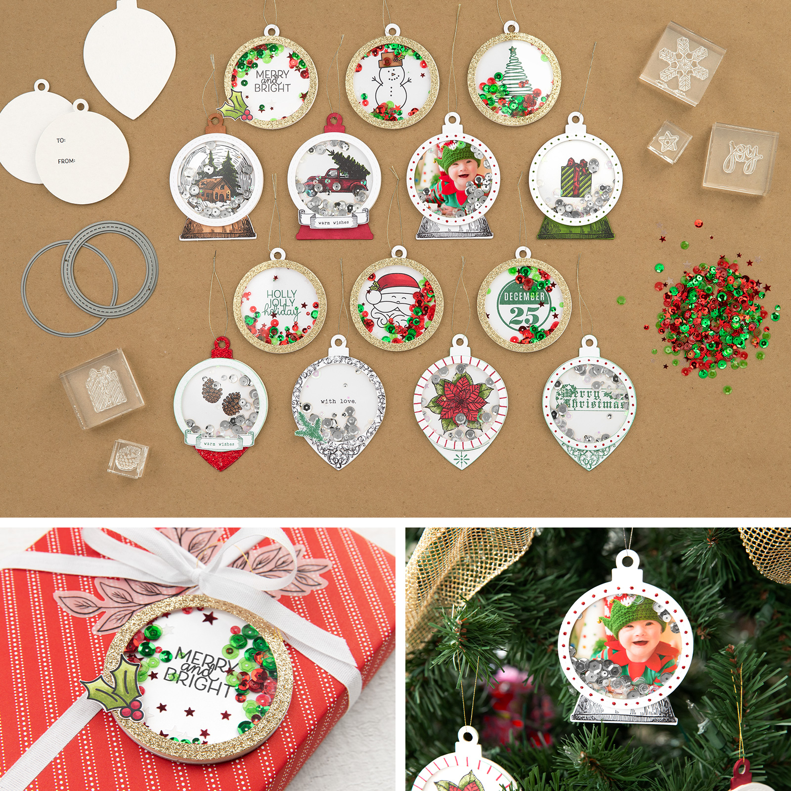 Holiday Cheer Christmas tags and ornaments kit