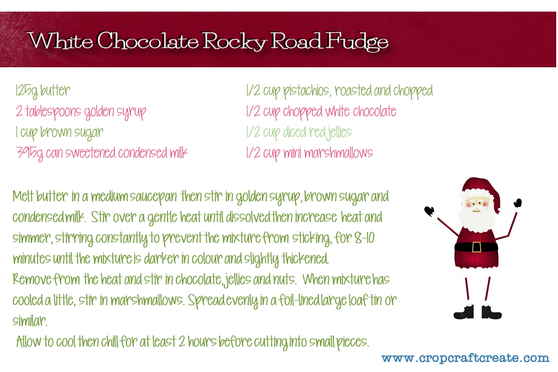 White Chocolate Rocky Road Fudge recipe card