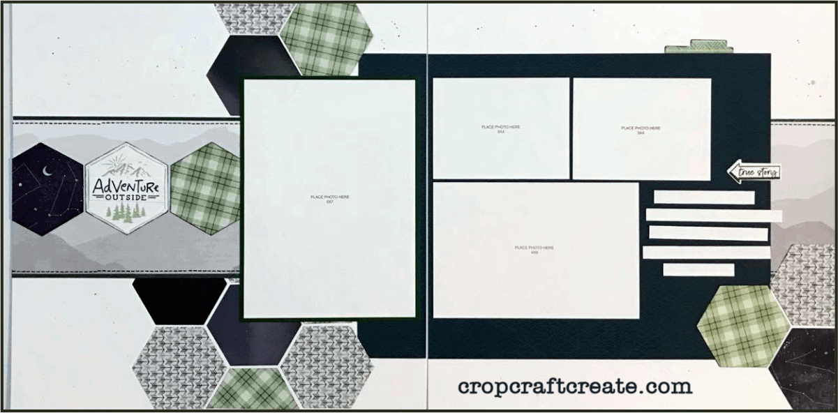 Double page scrapbooking layout using CTMH's Aurora paper suite