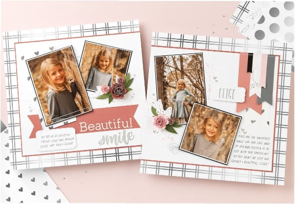 Scrapbook layout using the silver foil paper