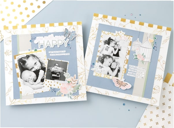 Scrapbooking layout using Gold Foil paper