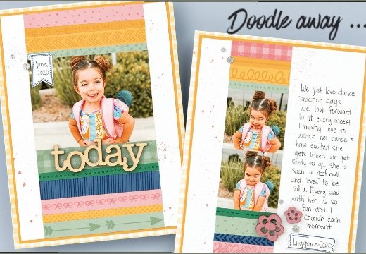 Scrapbook layout with doodle stamping