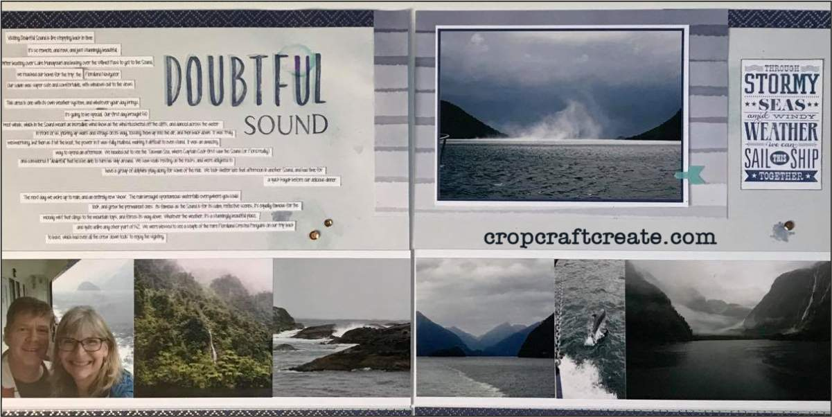 Double page scrapbook layout using National Scrapbook Month papers, featuring Doubtful Sound.