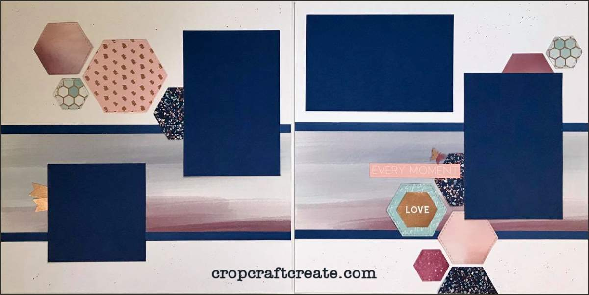 Double page scrapbook layout using National Scrapbook Month papers.